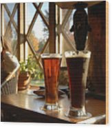 Two Beers At The Lodge Wood Print