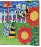 Two Bees With Red Flowers Wood Print by Genevieve Esson