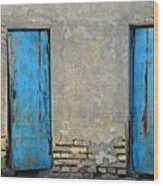 Two Blue Doors   Bukhara Wood Print