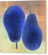 Two Blue Pears On Peach  Side By Side Wood Print