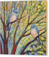 Two Bluebirds Wood Print by Jennifer Lommers