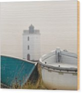 Two Boats And A Lighthouse Wood Print