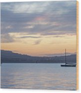 Two Boats In Blue Holywood Wood Print
