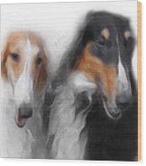 Two Borzois No 01 Wood Print