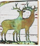 Two Bucks 2 Wood Print
