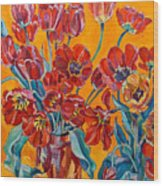 Two Bunches Of Red Tulips Wood Print