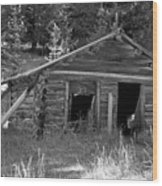 Two Cabins One Outhouse Wood Print