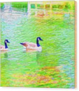Two Canadian Geese In The Water Wood Print