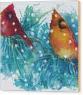 Two Cardinals Wood Print