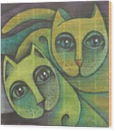 Two Cats  2000 Wood Print