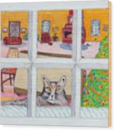 Two Cats In The Window Wood Print