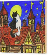 Two Cats On The Roof Wood Print