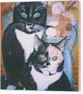 Two Cats Wood Print