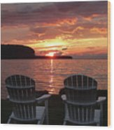 Two Chair Sunset Wood Print