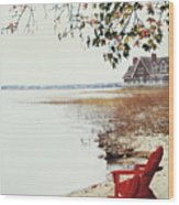 Two Chairs By The Lake's Edge In Autumn Wood Print