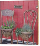 Two Chairs With Plants Wood Print