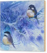 Two Chickadees In Snow Wood Print