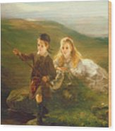 Two Children Fishing In Scotland   Wood Print