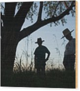 Two Children In Cowboy Hats Wood Print