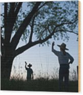 Two Children In Cowboy Hats Wave Wood Print