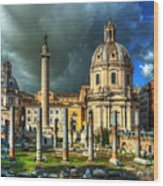 Two Churches And Columns Wood Print