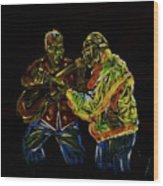 Two Classical Guitar Players  Wood Print