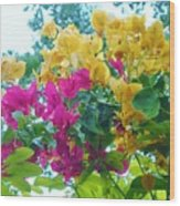 Two Color Flowers Wood Print
