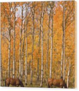 Two Colorado High Country Autumn Horses Wood Print
