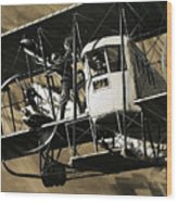 Two Crewmen Amid The Wires And Struts Of An Ilia Mourometz II Bomber Wood Print