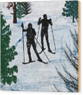 Two Cross Country Skiers In Snow Squall Wood Print
