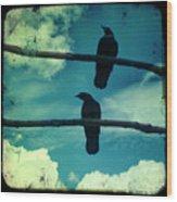 Two Crows Blue Lomo Sky Wood Print
