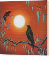 Two Crows On Mossy Branches Wood Print