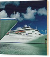 Two Cruise Ships Docked At A Caribbean Wood Print