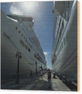 Two Cruise Ships On Either Side Wood Print