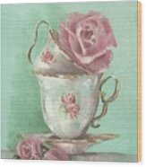 Two Cup Rose Painting Wood Print