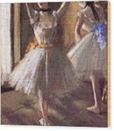 Two Dancers In The Studio Dance School Wood Print
