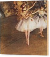 Two Dancers On Stage Wood Print