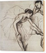 Two Dancers Resting Wood Print by Edgar Degas