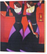 Two Dancers With Candlelight Wood Print