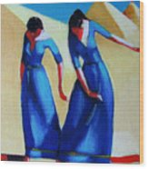 Two Dancers With Three Pyramids Wood Print