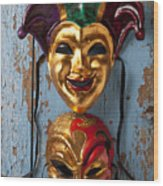 Two Decortive Masks Wood Print