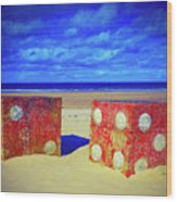 Two Dice On A Beach Wood Print