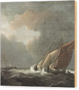 Two Dutch Vessels Close-hauled In A Strong Breeze Wood Print by Willem van de Velde the Younger