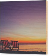 Two Empty And Inviting Beach Chairs Next To The Sea During Beautiful Sunset On Koh Lanta Island Wood Print