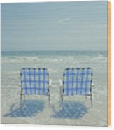 Two Empty Beach Chairs Wood Print