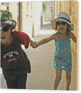 Two Excited Children Wood Print
