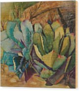 Two Fat Agaves 300 Lb Wood Print