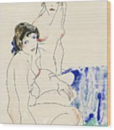 Two Female Nudes By The Water Wood Print