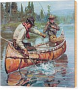 Two Fishermen In Canoe Wood Print by Phillip R Goodwin