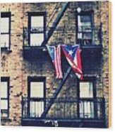 Two Flags In Washington Heights Wood Print